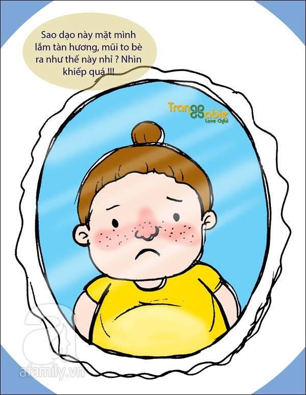Càng về cuối thai kì, các mẹ bầu càng thấy sợ mỗi lần đứng trước gương. Nào là mũi nở to và đỏ, nào là tàn nhang chi chít, da thâm sạm, thân hình nặng nề, chân tay sưng như chứa nước...